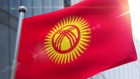 Bandiera d'ondeggiamento dell'animazione del Kirghizistan archivi video