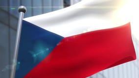 Bandiera d'ondeggiamento dell'animazione della repubblica Ceca video d archivio
