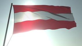 Bandiera d'ondeggiamento dell'Austria contro il sole ed il cielo brillanti Animazione loopable realistica 3D stock footage
