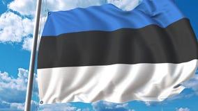 Bandiera d'ondeggiamento dell'Estonia sul fondo del cielo animazione 3D stock footage