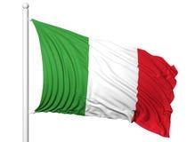 Bandiera d'ondeggiamento dell'Italia sull'asta della bandiera Immagine Stock
