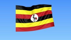 Bandiera d'ondeggiamento dell'Uganda, ciclo senza cuciture Dimensione esatta, fondo blu Parte di tutti i paesi messi 4K ProRes co illustrazione di stock