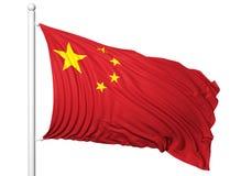 Bandiera d'ondeggiamento della Cina sull'asta della bandiera Fotografie Stock Libere da Diritti