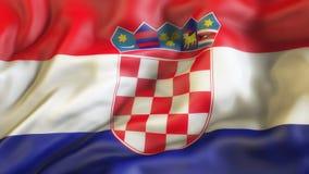 Bandiera, bandiera d'ondeggiamento della Croazia Fotografia Stock Libera da Diritti