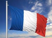 Bandiera d'ondeggiamento della Francia sull'asta della bandiera Fotografie Stock Libere da Diritti