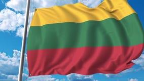 Bandiera d'ondeggiamento della Lituania sul fondo del cielo animazione 3D archivi video