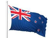 Bandiera d'ondeggiamento della Nuova Zelanda sull'asta della bandiera Fotografia Stock
