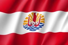 Bandiera d'ondeggiamento della Polinesia francese Fotografia Stock