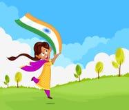Bandiera d'ondeggiamento della ragazza indiana dell'India Immagine Stock