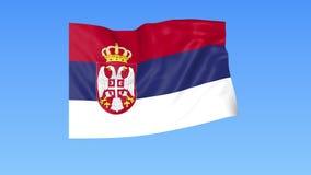Bandiera d'ondeggiamento della Serbia, ciclo senza cuciture Dimensione esatta, fondo blu Parte di tutti i paesi messi 4K ProRes c royalty illustrazione gratis