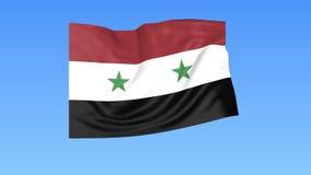 Bandiera d'ondeggiamento della Siria, ciclo senza cuciture Dimensione esatta, fondo blu Parte di tutti i paesi messi 4K ProRes co illustrazione di stock