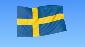 Bandiera d'ondeggiamento della Svezia, ciclo senza cuciture Dimensione esatta, fondo blu Parte di tutti i paesi messi 4K ProRes c illustrazione di stock