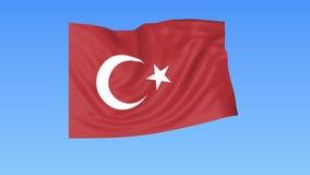 Bandiera d'ondeggiamento della Turchia, ciclo senza cuciture Dimensione esatta, fondo blu Parte di tutti i paesi messi 4K ProRes  royalty illustrazione gratis