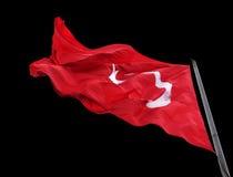 Bandiera d'ondeggiamento della Turchia con l'asta della bandiera Fotografie Stock