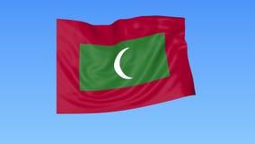 Bandiera d'ondeggiamento delle Maldive, ciclo senza cuciture Dimensione esatta, fondo blu Parte di tutti i paesi messi 4K ProRes  royalty illustrazione gratis