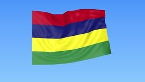 Bandiera d'ondeggiamento delle Mauritius, ciclo senza cuciture Dimensione esatta, fondo blu Parte di tutti i paesi messi 4K ProRe illustrazione vettoriale