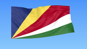 Bandiera d'ondeggiamento delle Seychelles, ciclo senza cuciture Dimensione esatta, fondo blu Parte di tutti i paesi messi 4K ProR illustrazione vettoriale