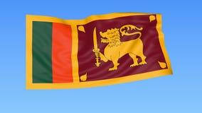 Bandiera d'ondeggiamento dello Sri Lanka, ciclo senza cuciture Dimensione esatta, fondo blu Parte di tutti i paesi messi 4K ProRe illustrazione vettoriale