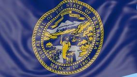 Bandiera d'ondeggiamento dello stato del Nebraska contro cielo blu Clip senza cuciture del ciclo 4K illustrazione vettoriale
