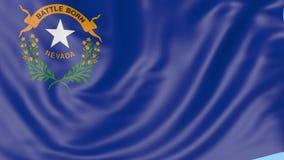 Bandiera d'ondeggiamento dello stato del Nevada contro cielo blu Clip senza cuciture del ciclo 4K illustrazione di stock
