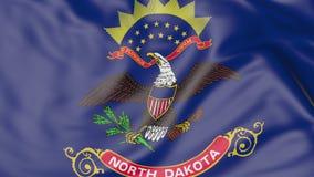 Bandiera d'ondeggiamento dello stato del Nord Dakota rappresentazione 3d Fotografie Stock