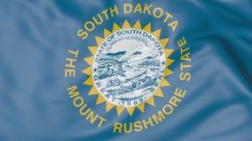 Bandiera d'ondeggiamento dello stato del Sud Dakota rappresentazione 3d Fotografie Stock