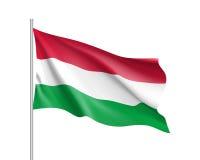 Bandiera d'ondeggiamento dello stato dell'Ungheria Immagine Stock