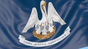 Bandiera d'ondeggiamento dello stato della Luisiana contro cielo blu Clip senza cuciture del ciclo 4K royalty illustrazione gratis