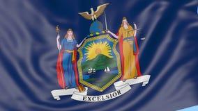 Bandiera d'ondeggiamento dello Stato di New York contro cielo blu Clip senza cuciture del ciclo 4K royalty illustrazione gratis