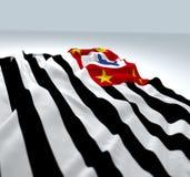 Bandiera d'ondeggiamento dello stato di Sao Paulo Fotografia Stock