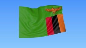 Bandiera d'ondeggiamento dello Zambia, ciclo senza cuciture Dimensione esatta, fondo blu Parte di tutti i paesi messi 4K ProRes c royalty illustrazione gratis