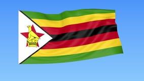 Bandiera d'ondeggiamento dello Zimbabwe, ciclo senza cuciture Dimensione esatta, fondo blu Parte di tutti i paesi messi 4K ProRes illustrazione vettoriale