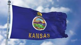 Bandiera d'ondeggiamento di Kansas immagine stock