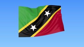 Bandiera d'ondeggiamento di Saint Kitts e Nevis, ciclo senza cuciture Dimensione esatta, fondo blu Parte di tutti i paesi messi 4 illustrazione di stock