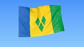 Bandiera d'ondeggiamento di Saint Vincent e Grenadine, ciclo senza cuciture Dimensione esatta, fondo blu Parte di tutti i paesi m illustrazione di stock