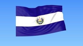 Bandiera d'ondeggiamento di Salvador, ciclo senza cuciture Dimensione esatta, fondo blu Parte di tutti i paesi messi 4K ProRes co illustrazione vettoriale