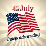 Bandiera d'ondeggiamento di U.S.A., quarta della celebrazione di luglio Fotografia Stock Libera da Diritti