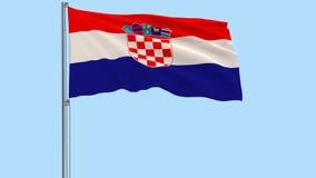 Bandiera d'ondeggiamento realistica della Croazia e pallone da calcio che vola intorno su un fondo trasparente, 3d rappresentazio illustrazione di stock