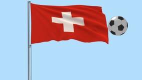 Bandiera d'ondeggiamento realistica della Svizzera e pallone da calcio che vola intorno su un fondo trasparente, 3d rappresentazi illustrazione di stock