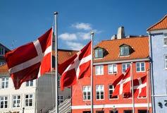 Bandiera danese quattro Fotografia Stock Libera da Diritti
