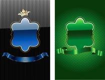 Bandiera decorata reale blu e verde di incandescenza. Immagini Stock