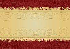 Bandiera decorativa di colore rosso e dell'oro dell'annata illustrazione di stock