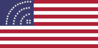 Bandiera degli S.U.A. con le stelle del segno dell'icona di wifi illustrazione vettoriale