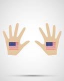 Bandiera degli stati nunited desig della mano Fotografia Stock Libera da Diritti
