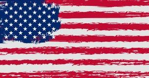 Bandiera degli Stati Uniti d'America nello stile di lerciume con i colori e le proporzioni originali Immagini Stock