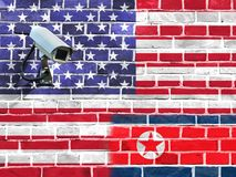 Bandiera degli Stati Uniti e della Corea del Nord fotografie stock