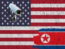 Bandiera degli Stati Uniti e della Corea del Nord fotografie stock libere da diritti