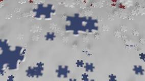 Bandiera dei Paesi Bassi che sono fatti con i pezzi del puzzle Animazione concettuale 3D della soluzione olandese di problema video d archivio