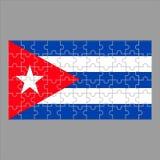 Bandiera dei puzzle di Cuba su un fondo grigio illustrazione di stock
