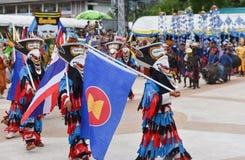 Bandiera del Asean nel festival di fantasma variopinto della maschera 2017 Fotografie Stock
